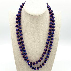 Purple Aurora Borealis Hand Knotted Bead Necklace